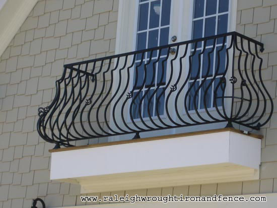 Custom iron balcony fabricator raleigh wrought iron co for Metal balcony