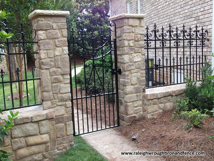 Greensboro nc wrought iron driveway gate fabricator for Brick and wrought iron fence designs